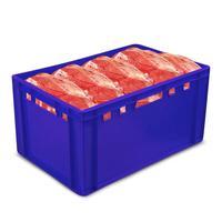 Ящик (лоток) мясной из ПНД 600х400х300 мм синий ударопрочный