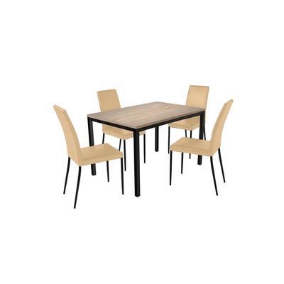 Комплект обеденной мебели Итан К-031 дуб мадуро/черный (стол, 4 стула)