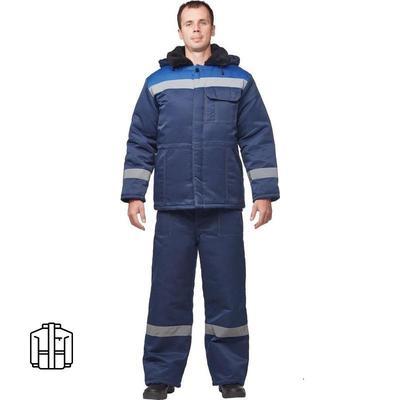 Куртка рабочая зимняя мужская з32-КУ смесовая с СОП синяя/васильковая (размер 48-50, рост 170-176)