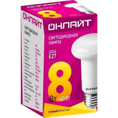 Лампа светодиодная ОНЛАЙТ OLL-R63-8-230-2.7K-E27 8Вт E27 2700К 71653