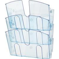Лоток настенный A4 горизонтальный (310x430 мм) 3 отделения пластик цвет прозрачный синий   Attache
