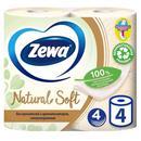 Бумага туалетная Zewa Natural Soft 4-слойная бежевая (4 рулона в упаковке)
