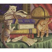Набор для вышивания Panna панно Котята с книгами 34x29см
