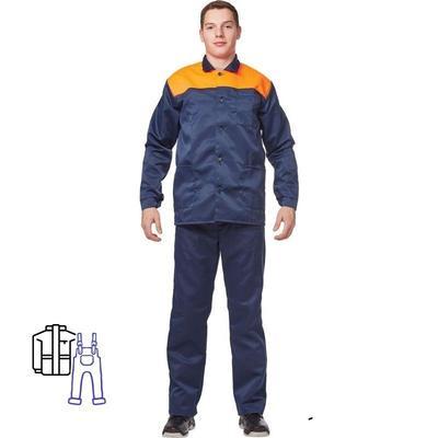 Костюм рабочий летний мужской л16-КПК синий/оранжевый (размер 56-58, рост 182-188)