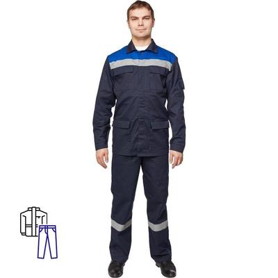 Костюм рабочий летний мужской л05-КБР с СОП синий/васильковый (размер 56-58, рост 182-188)