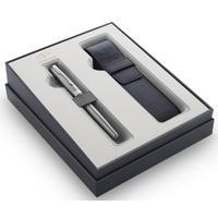 Набор пишущих принадлежностей Parker Sonnet Stainless Steel CT (ручка перьевая, чехол)