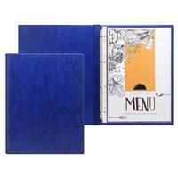 Папка для меню на кольцах А4 ПВХ синяя