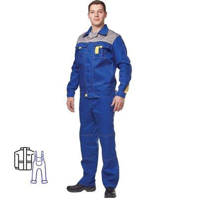 Костюм рабочий летний мужской л10-КПК васильковый/серый (размер 44-46, рост 170-176)
