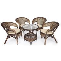 Комплект мебели Pelangi 02/15 коричневый (стол, 4 кресла)