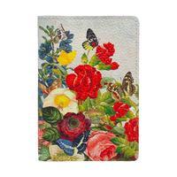 Обложка для паспорта Eshemoda Цветочное настроение из натуральной кожи разноцветная