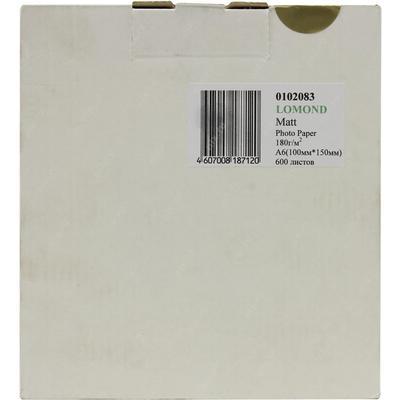 Фотобумага для цветной  струйной печати Lomond односторонняя (матовая, 10x15 см, 180 г/кв.м, 600 листов, артикул производителя 0102083)