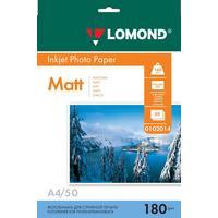 Фотобумага для цветной  струйной печати Lomond односторонняя (матовая, А4, 180 г/кв.м, 50 листов, артикул производителя 0102014)