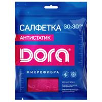 Салфетка хозяйственная Dora микрофибра 30х30 см розовая