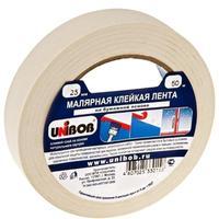 Клейкая лента малярная Unibob белая 25 мм х 50 м (бумажная, легкоудаляемая)