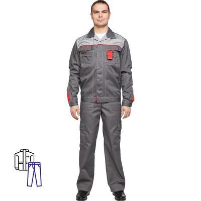 Костюм рабочий летний мужской л10-КБР темно-серый/светло-серый (размер 52-54, рост 170-176)