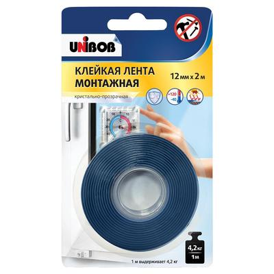Клейкая лента для светопрозрачных конструкций прозрачная Unibob безосновная 12 мм x 2 м