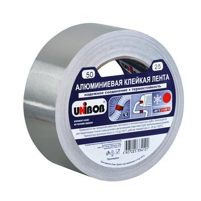 Клейкая лента алюминиевая Unibob 50 мм x 25 м 70 мкм серая