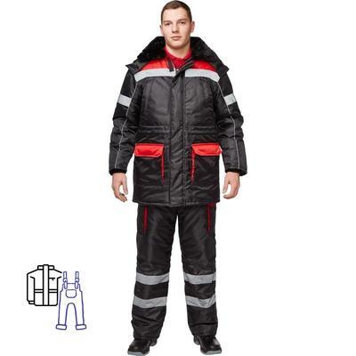 Костюм рабочий зимний мужской з26-КПК с СОП черный/красный (размер 64-66, рост 182-188)