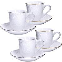 Сервиз чайный Loraine (25774) на 4 персоны фарфор (4 чашки 220 мл, 4 блюдца 14 см)