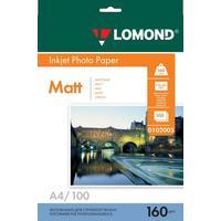 Фотобумага для цветной  струйной печати Lomond односторонняя (матовая, А4, 160 г/кв.м, 100 листов, артикул производителя 0102005)