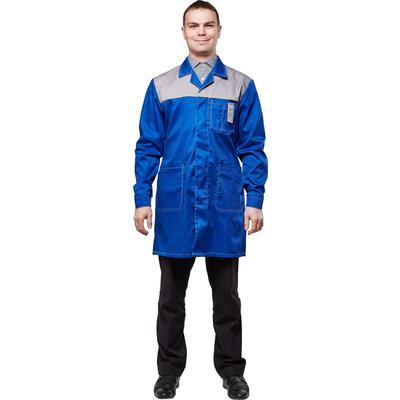 Халат рабочий мужской у19-ХЛ васильковый/серый (размер 60-62, рост 170-176)