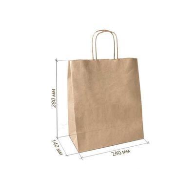 Уценка. Крафт пакет бумажный бурый с кручеными ручками 24х14х28 см (300 штук в упаковке)