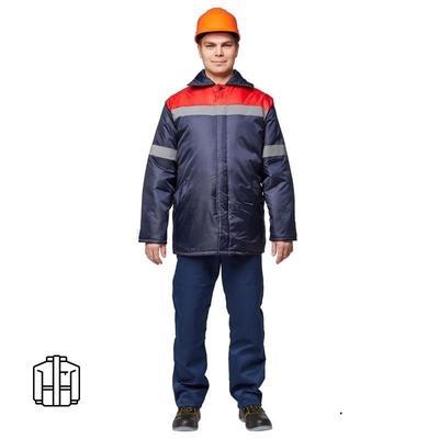 Куртка рабочая зимняя мужская з06-КУ с СОП синяя/красная (размер 48-50, рост 170-176)