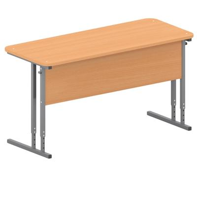 Стол ученический двухместный с закругленными углами (бук/серый, рост 3-5)
