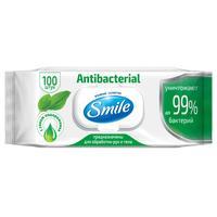Влажные салфетки антибактериальные Smile 100 штук в упаковке