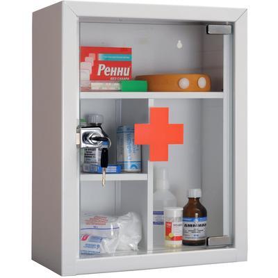 Аптечка металлическая Практик AMD-39G со стеклянной дверцей (без наполнения, 300 x 160 x 390 мм)