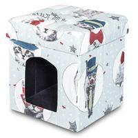 Пуф складной Кошки для животных (ткань жаккард)