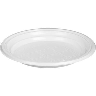 Тарелка одноразовая пластиковая 170 мм белая 100 штук в упаковке Комус Стандарт