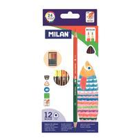 Карандаши цветные Milan 24 цвета (двусторонние) трехгранные