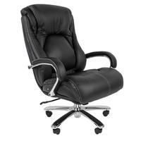 Кресло для руководителя Chairman 402 черное (натуральная кожа с компаньоном, металл)