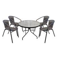 Набор мебели Марсель коричневый/черный (искусственный ротанг/сталь/стекло)