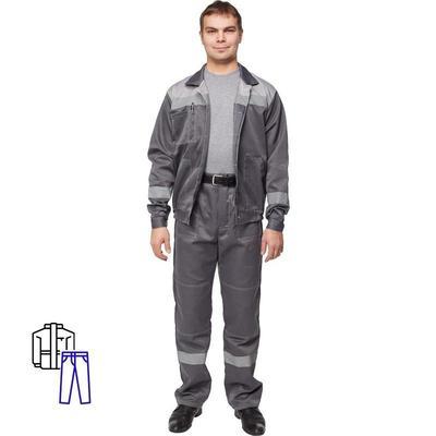 Костюм рабочий летний мужской л22-КБР с СОП темно-серый/светло-серый (размер 52-54, рост 170-176)