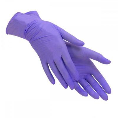 Перчатки одноразовые Райзен нитриловые неопудренные фиолетовые (размер XL, 100 штук/50 пар в упаковке)
