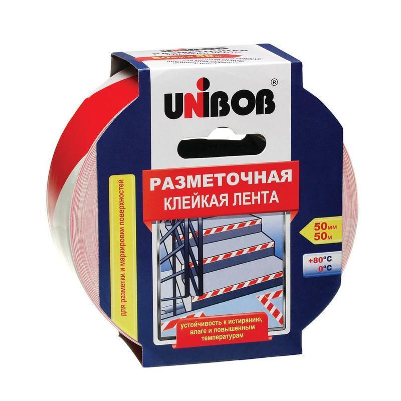 Анонс-изображение товара клейкая лента разметочная 50мм х 50м красно-белая unibob, основа-пвх, европодвес, 60885
