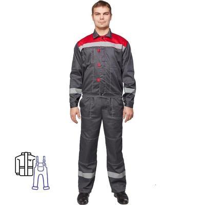 Костюм рабочий летний мужской л20-КПК с СОП серый/красный (размер 56-58, рост 182-188)