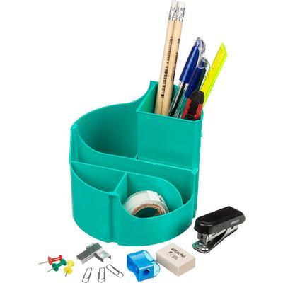 Набор настольный Attache Оптима пластиковый 14 предметов бирюзовый 6 отделений вращающийся