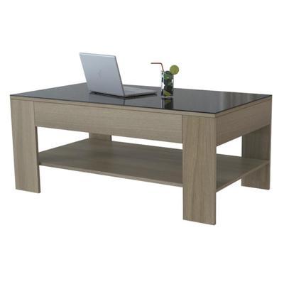 Стол журнальный BeautyStyle 26 (дуб сонома/стекло черное, 1100x600x465 мм)