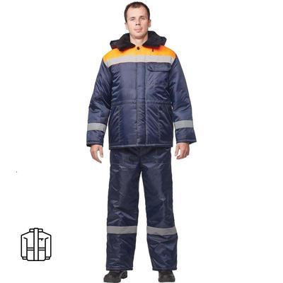 Куртка рабочая зимняя мужская з32-КУ оксфорд с СОП синяя/оранжевая (размер 52-54, рост 170-176)