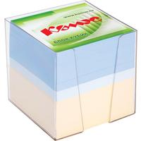 Блок для записей Комус 90x90x90 мм разноцветный в боксе (плотность 80 г/кв.м)