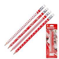 Набор чернографитных карандашей Kores HB заточенные с ластиком (4 штуки в упаковке)