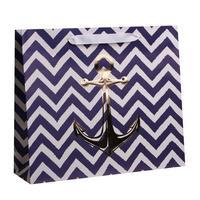 Пакет подарочный из крафт-бумаги Якорь M (26x30x9 см, 6 штук в упаковке)