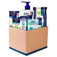 Комплект антибактериальных средств Aura Antibacterial Box (гель для рук, влажные салфетки х 3 упаковки, крем-мыло, маска одноразовая)