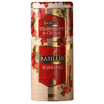 Чай подарочный Basilur 2 в 1 листовой черный 125 г (состав: чай черный Клубника со сливками, чай черный Рухуну)