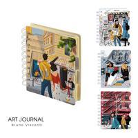 Блокнот Bruno Visconti Art Journal А6 120 листов в клетку/линейку/точку  на спирали (обложка в ассортименте)