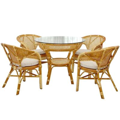 Комплект плетеной мебели Java-2 коньяк (4 кресла, стол)