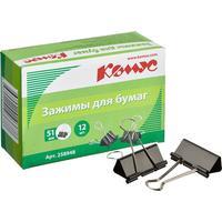 Зажимы для бумаг Комус 51 мм черные (12 штук в упаковке)